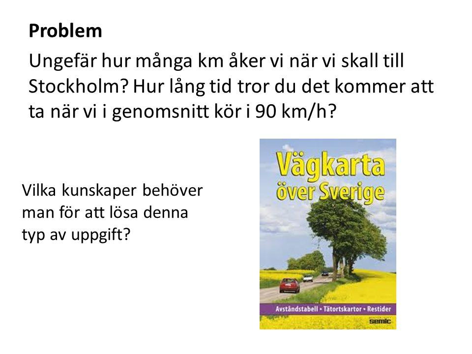 Problem Ungefär hur många km åker vi när vi skall till Stockholm