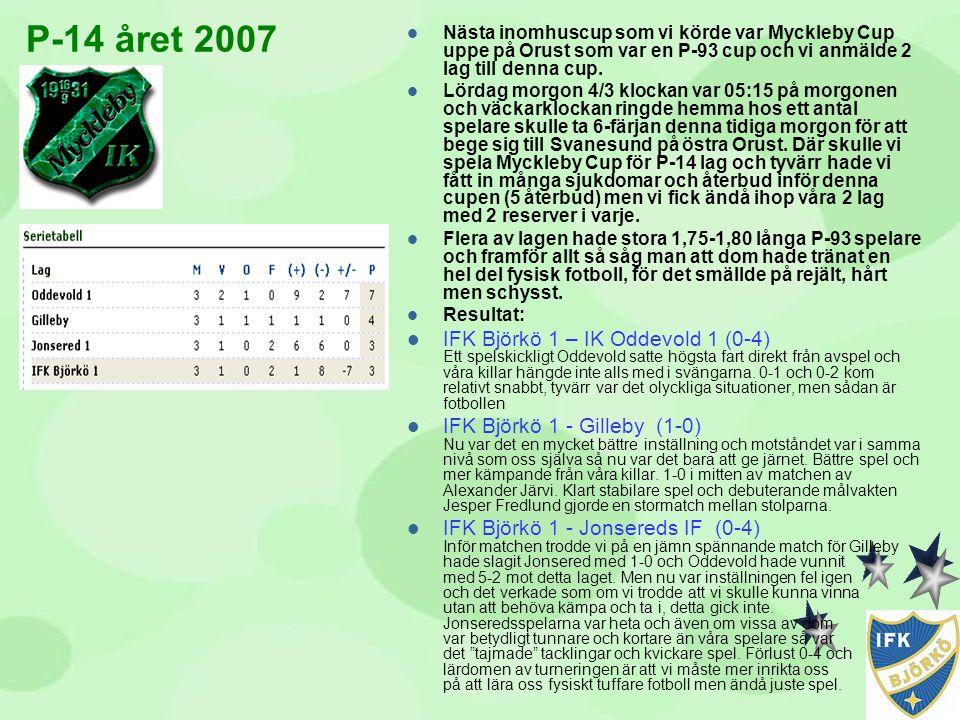 P-14 året 2007 Nästa inomhuscup som vi körde var Myckleby Cup uppe på Orust som var en P-93 cup och vi anmälde 2 lag till denna cup.