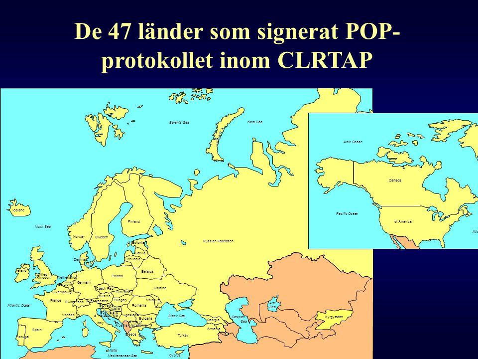 De 47 länder som signerat POP-protokollet inom CLRTAP
