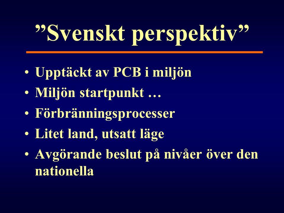 Svenskt perspektiv Upptäckt av PCB i miljön Miljön startpunkt …
