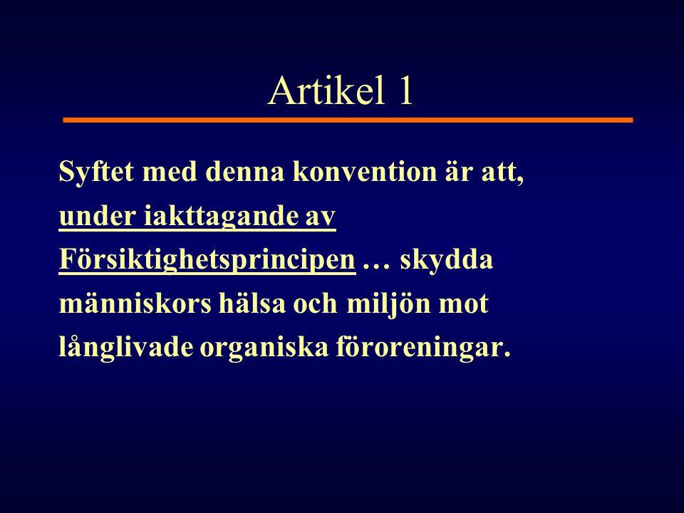 Artikel 1 Syftet med denna konvention är att, under iakttagande av