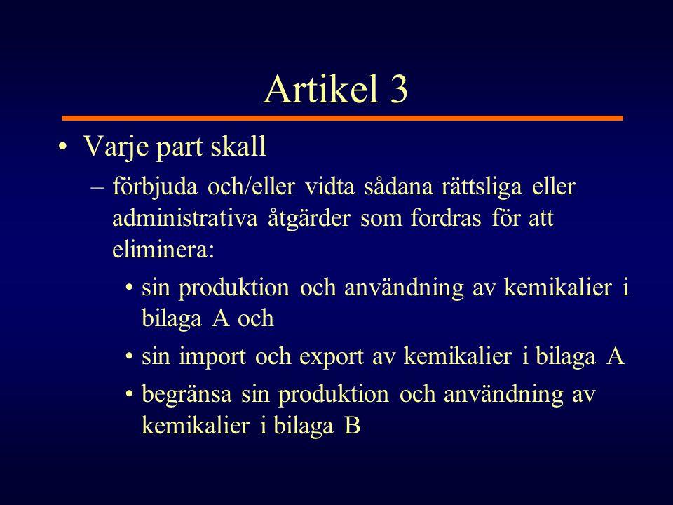 Artikel 3 Varje part skall