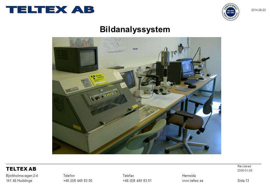Bildanalyssystem TELTEX AB Sida 13 www.teltex.se +46 (0)8 449 83 01