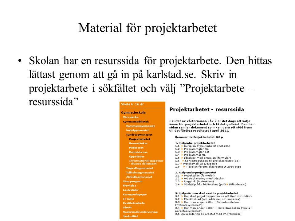 Material för projektarbetet