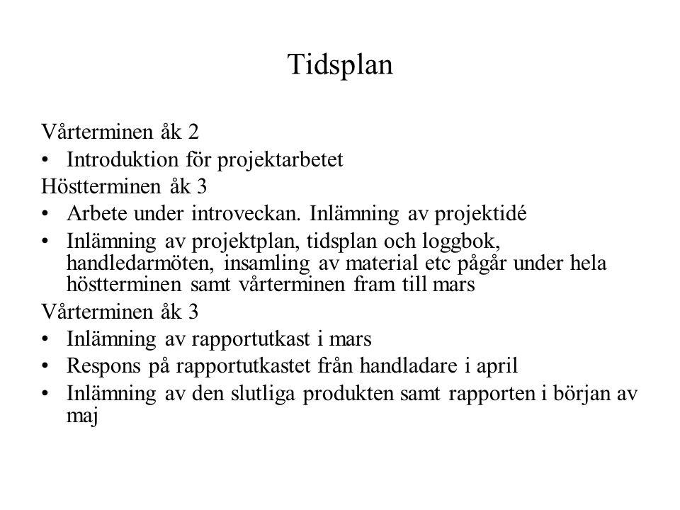 Tidsplan Vårterminen åk 2 Introduktion för projektarbetet