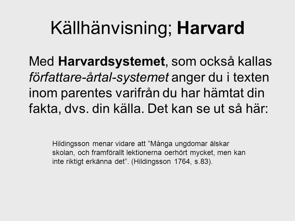 Källhänvisning; Harvard