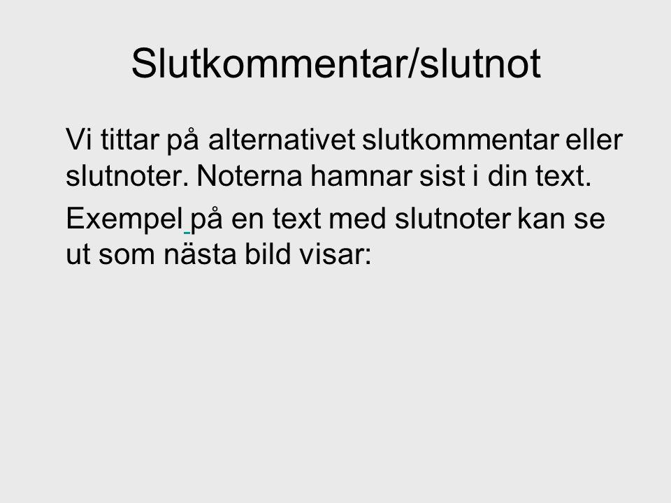 Slutkommentar/slutnot