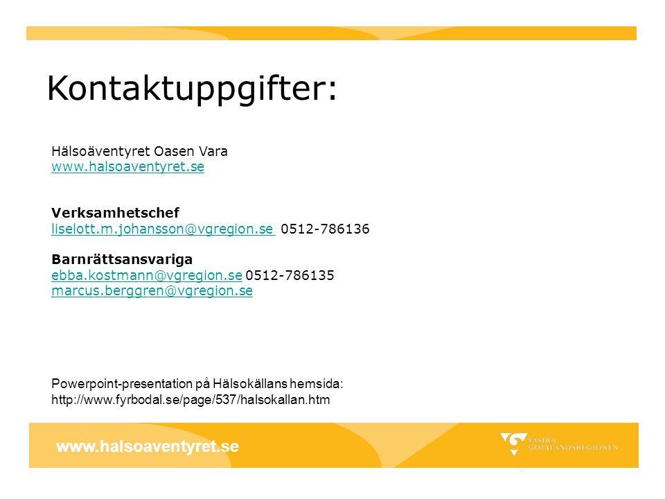 Kontaktuppgifter: www.halsoaventyret.se