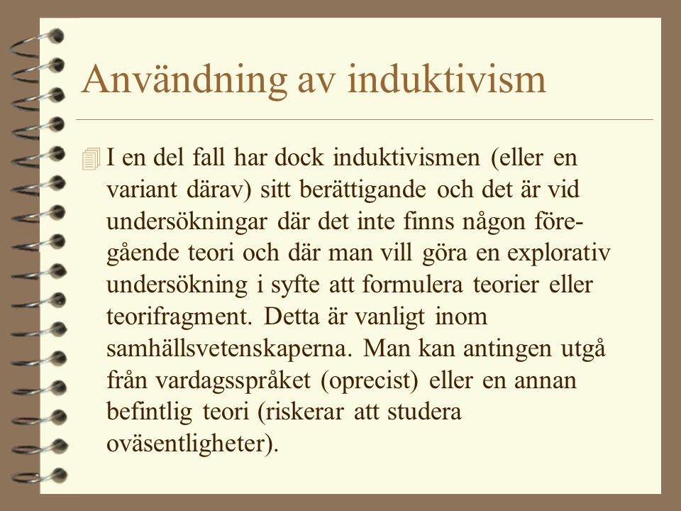Användning av induktivism