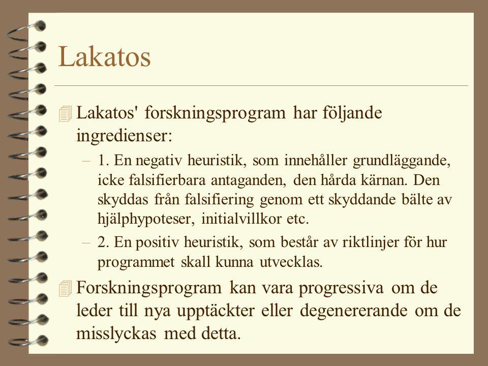 Lakatos Lakatos forskningsprogram har följande ingredienser: