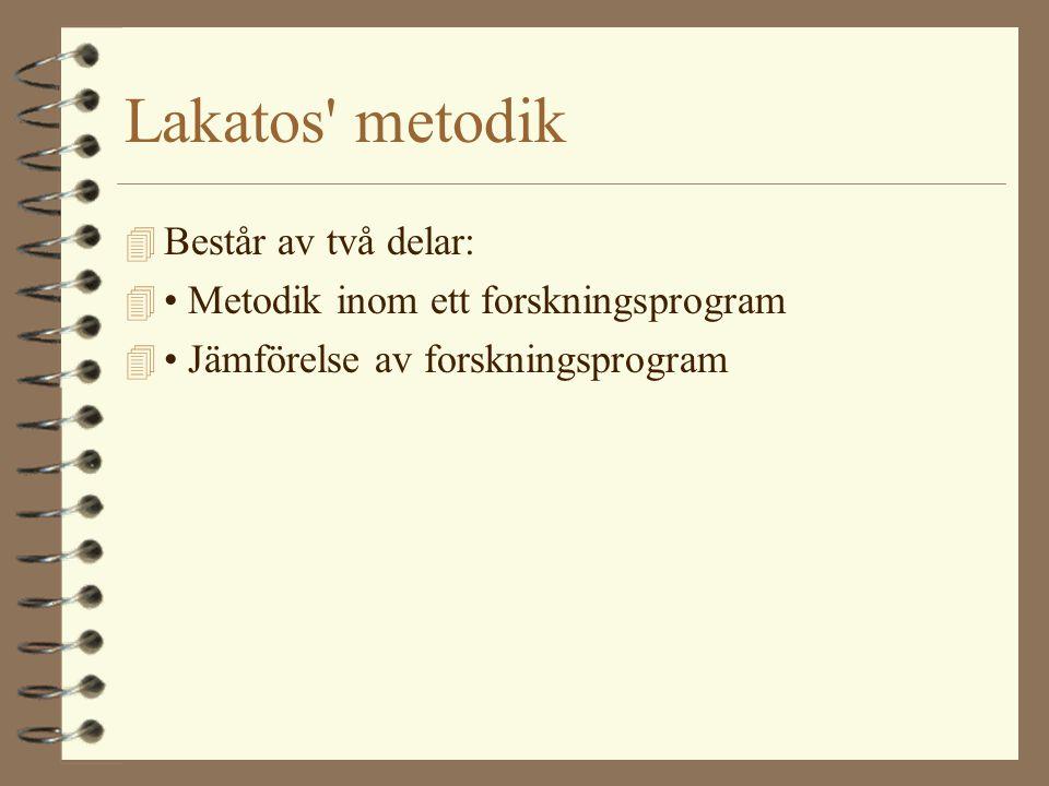Lakatos metodik Består av två delar: