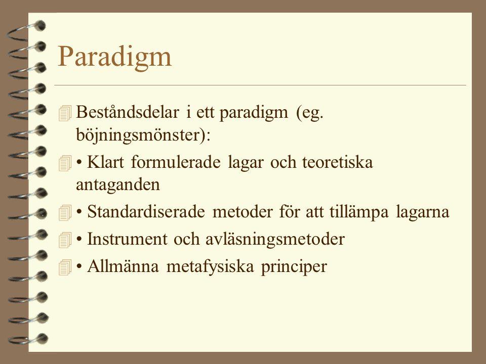 Paradigm Beståndsdelar i ett paradigm (eg. böjningsmönster):