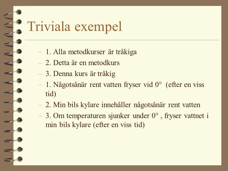 Triviala exempel 1. Alla metodkurser är tråkiga