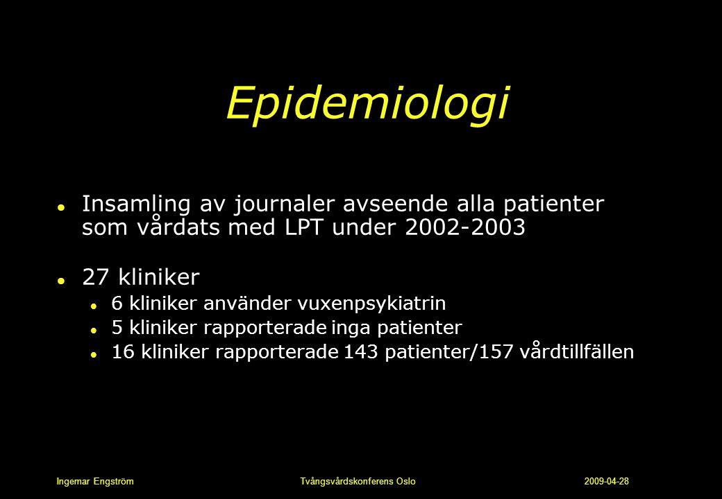 Epidemiologi Insamling av journaler avseende alla patienter som vårdats med LPT under 2002-2003. 27 kliniker.