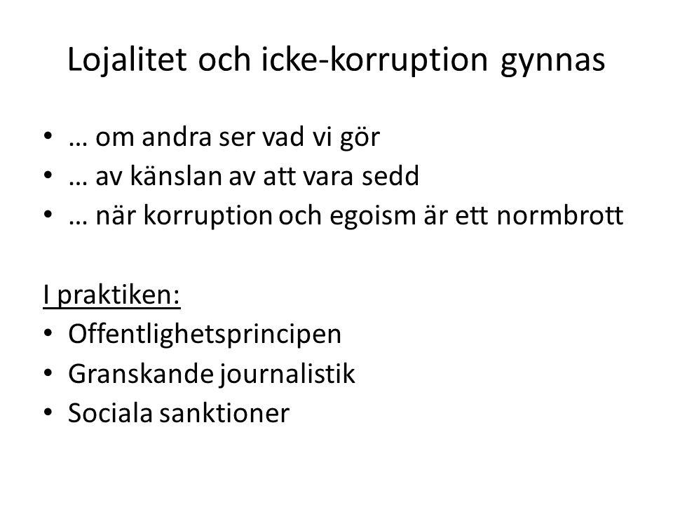 Lojalitet och icke-korruption gynnas