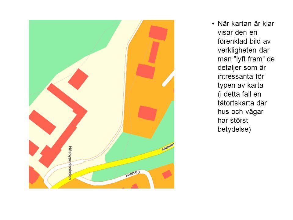 När kartan är klar visar den en förenklad bild av verkligheten där man lyft fram de detaljer som är intressanta för typen av karta (i detta fall en tätortskarta där hus och vägar har störst betydelse)