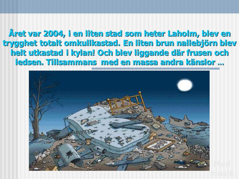Året var 2004, i en liten stad som heter Laholm, blev en trygghet totalt omkullkastad. En liten brun nallebjörn blev helt utkastad i kylan! Och blev liggande där frusen och ledsen. Tillsammans med en massa andra känslor …