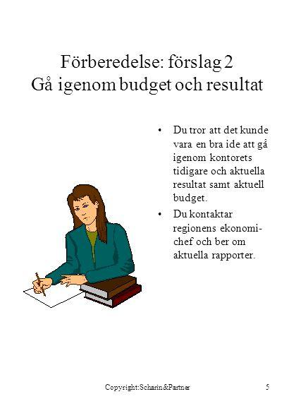 Förberedelse: förslag 2 Gå igenom budget och resultat
