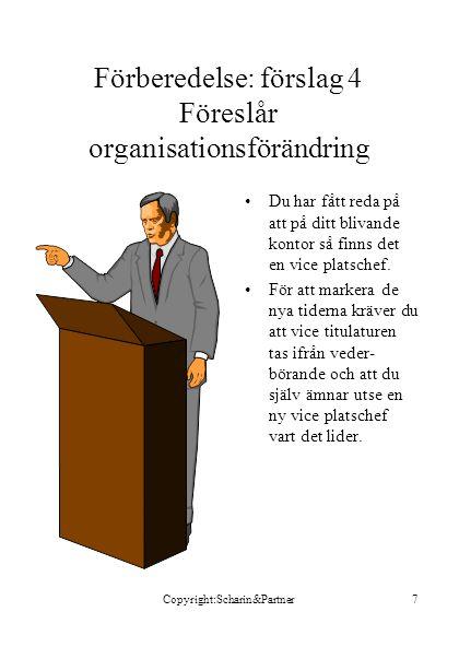 Förberedelse: förslag 4 Föreslår organisationsförändring