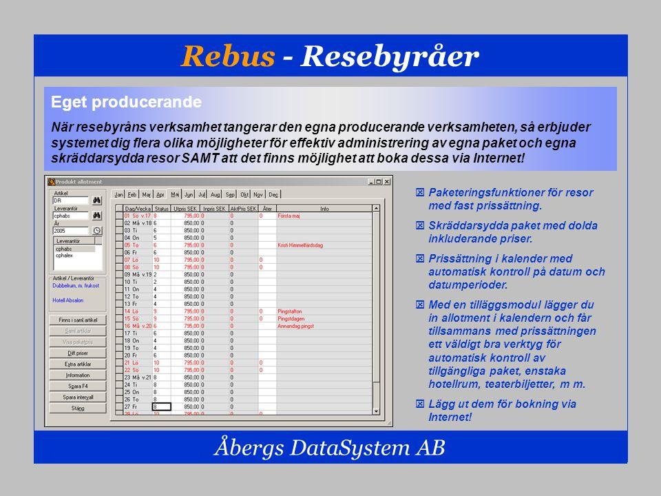 Rebus - Resebyråer Åbergs DataSystem AB Eget producerande