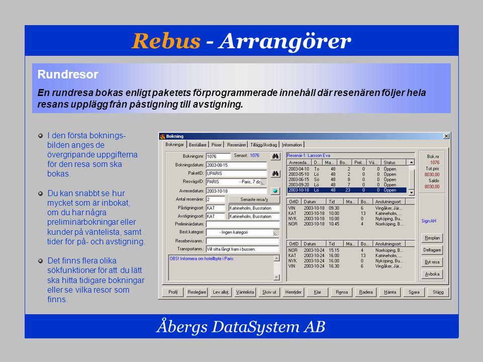 Rebus - Arrangörer Åbergs DataSystem AB Rundresor