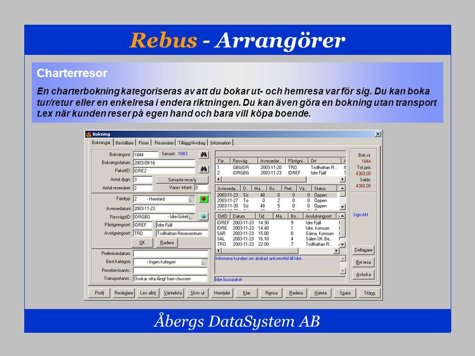 Rebus - Arrangörer Åbergs DataSystem AB Charterresor