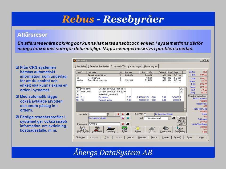 Rebus - Resebyråer Åbergs DataSystem AB Affärsresor