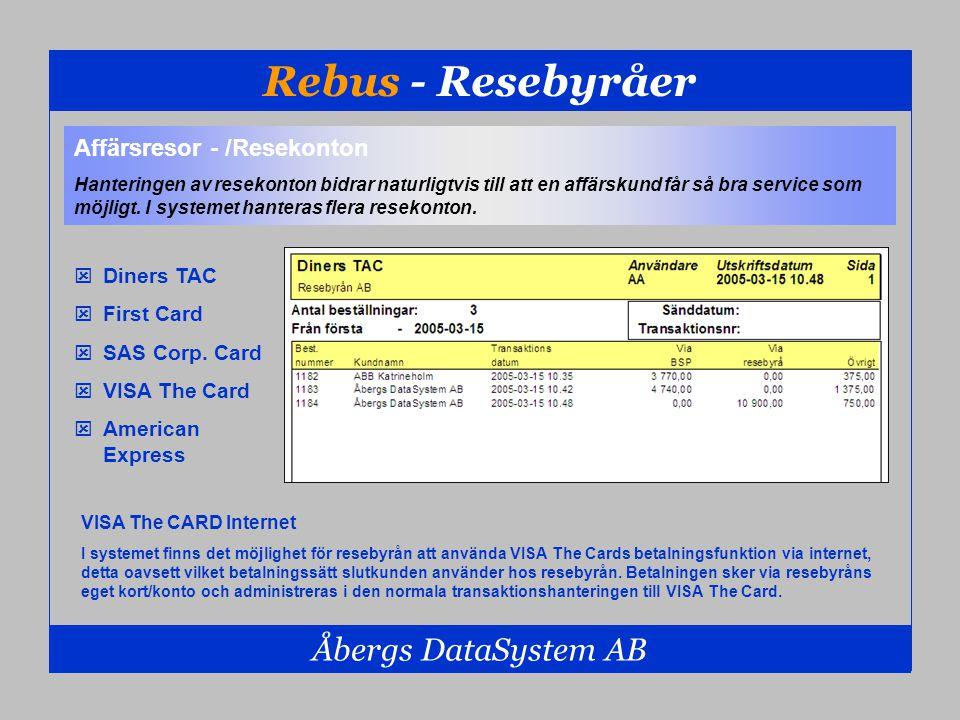 Rebus - Resebyråer Åbergs DataSystem AB Affärsresor - /Resekonton