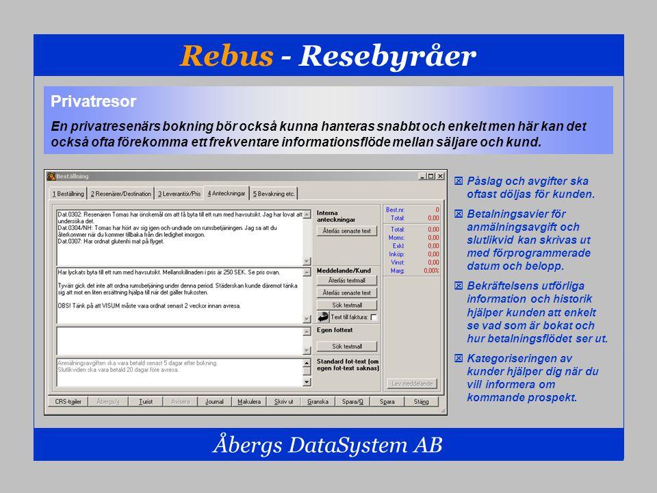 Rebus - Resebyråer Åbergs DataSystem AB Privatresor