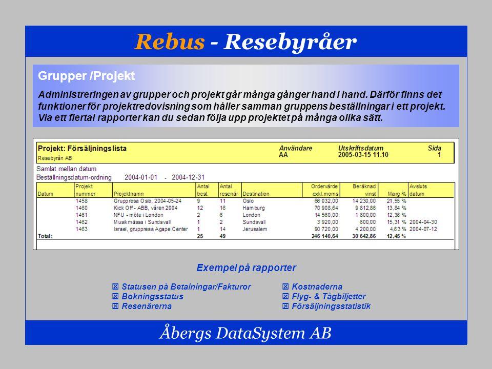 Rebus - Resebyråer Åbergs DataSystem AB Grupper /Projekt