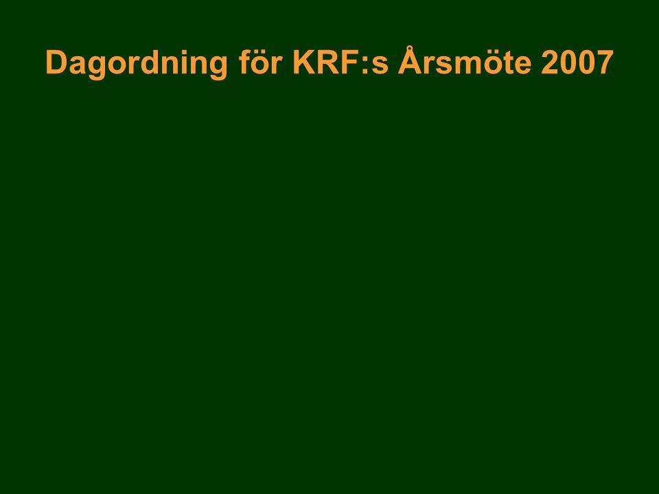 Dagordning för KRF:s Årsmöte 2007