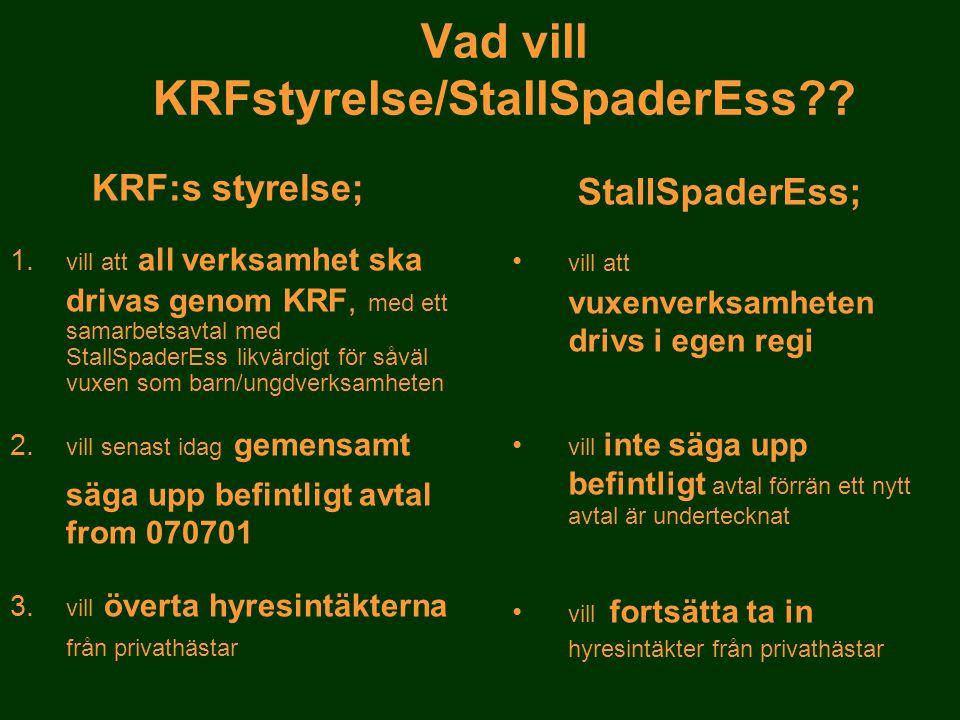 Vad vill KRFstyrelse/StallSpaderEss