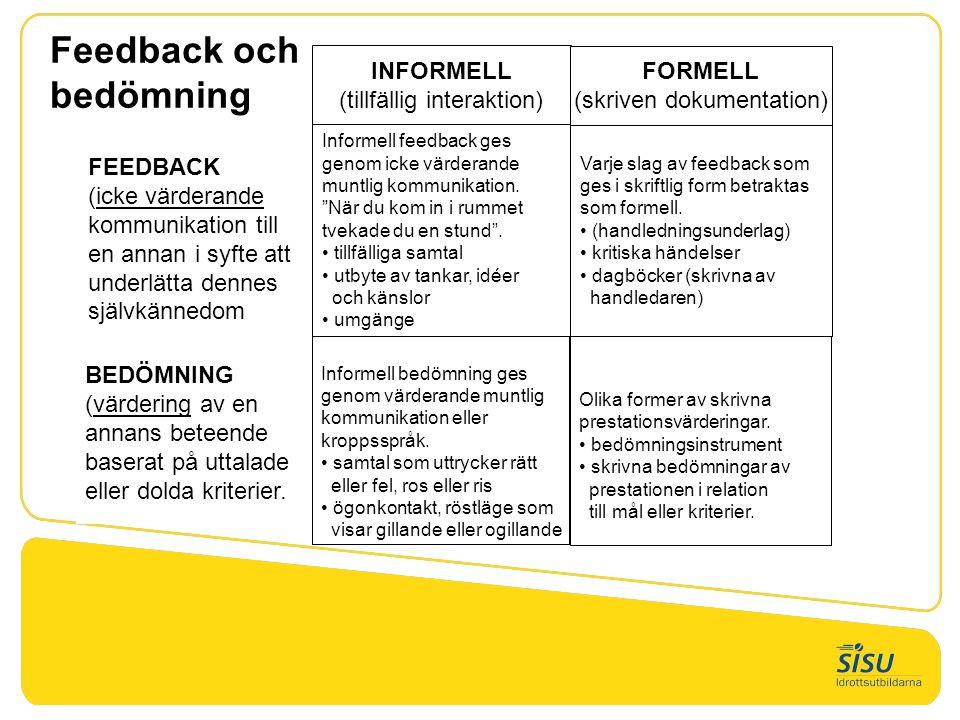 Feedback och bedömning INFORMELL (tillfällig interaktion) FORMELL