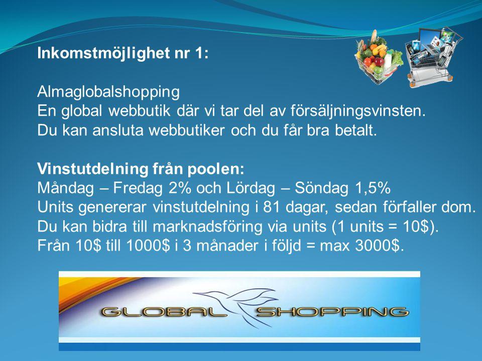 Inkomstmöjlighet nr 1: Almaglobalshopping. En global webbutik där vi tar del av försäljningsvinsten.