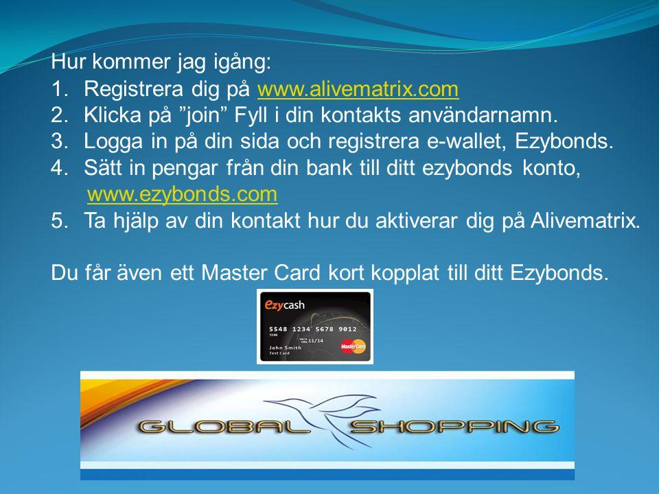 Hur kommer jag igång: Registrera dig på www.alivematrix.com. Klicka på join Fyll i din kontakts användarnamn.