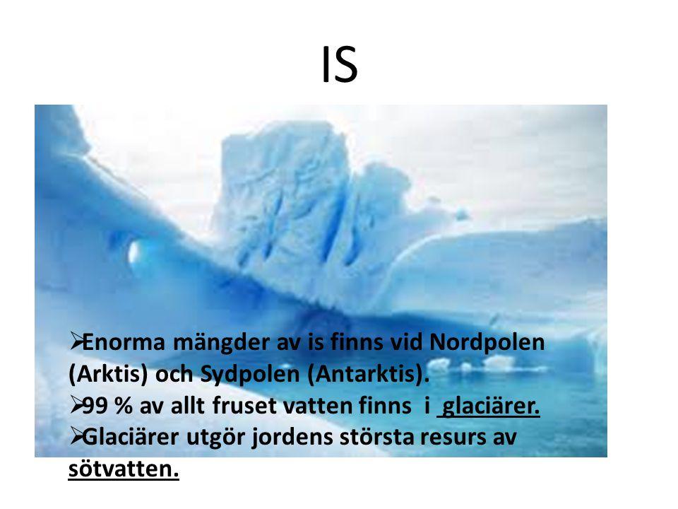 IS Enorma mängder av is finns vid Nordpolen (Arktis) och Sydpolen (Antarktis). 99 % av allt fruset vatten finns i glaciärer.