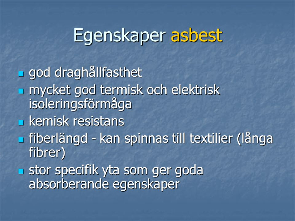 Asbest kemisk beteckning