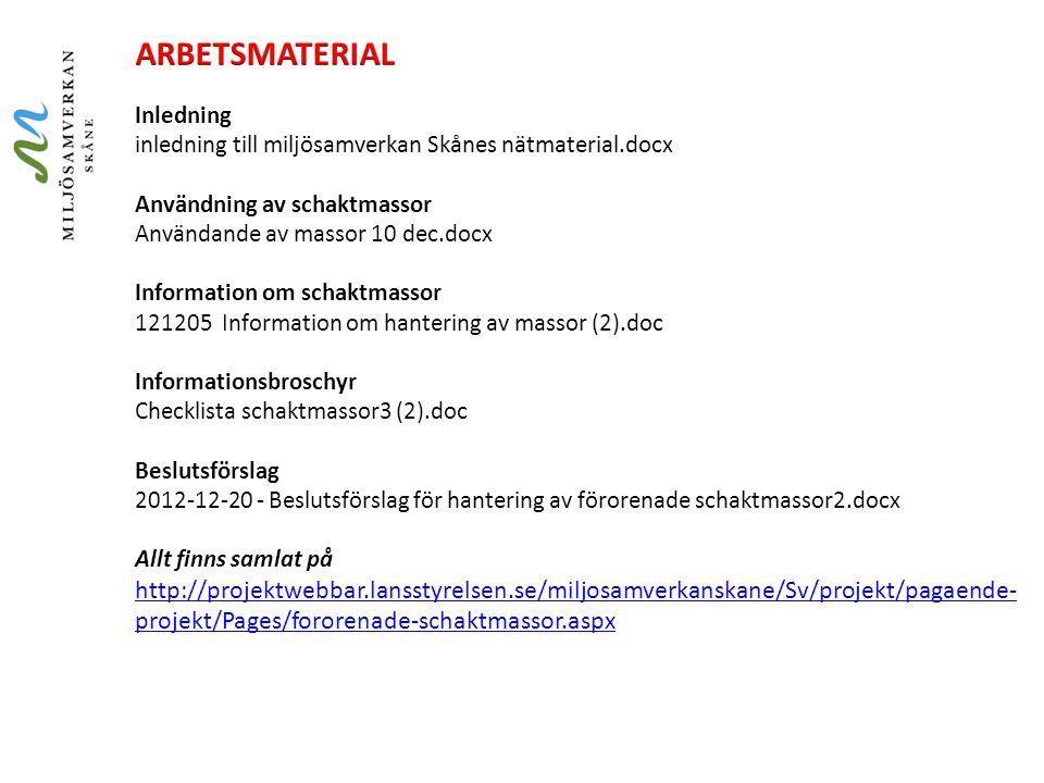 ARBETSMATERIAL Inledning inledning till miljösamverkan Skånes nätmaterial.docx. Användning av schaktmassor.
