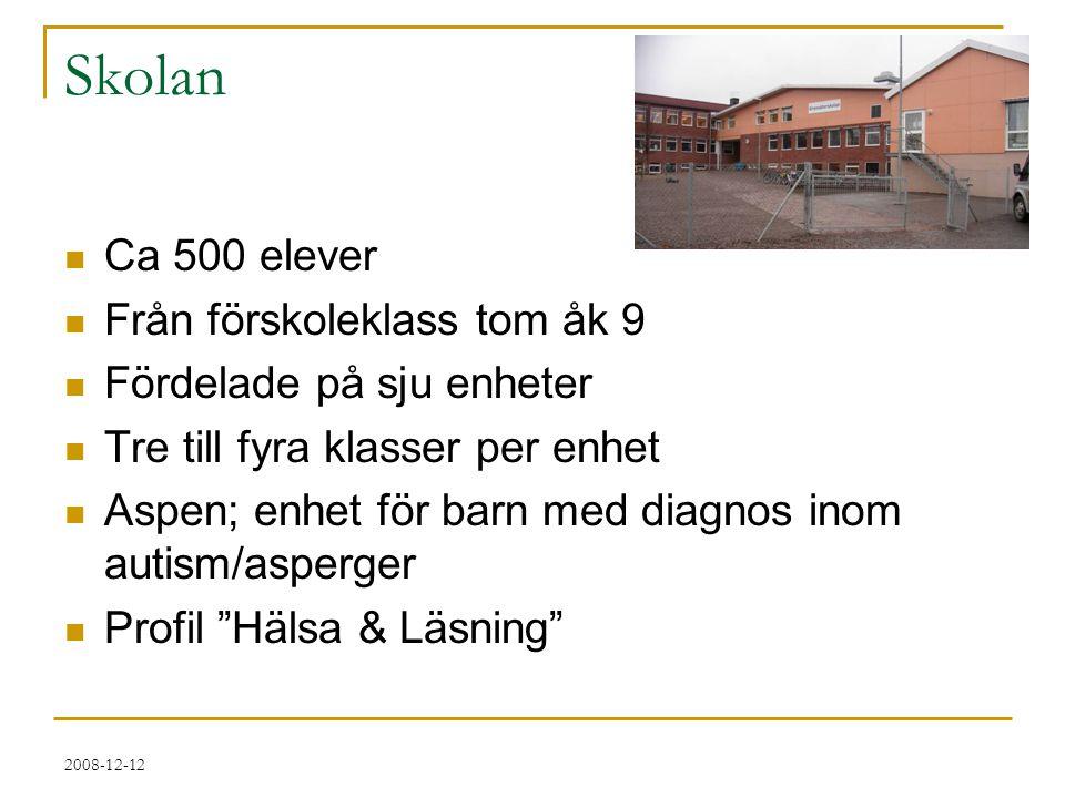 Skolan Ca 500 elever Från förskoleklass tom åk 9