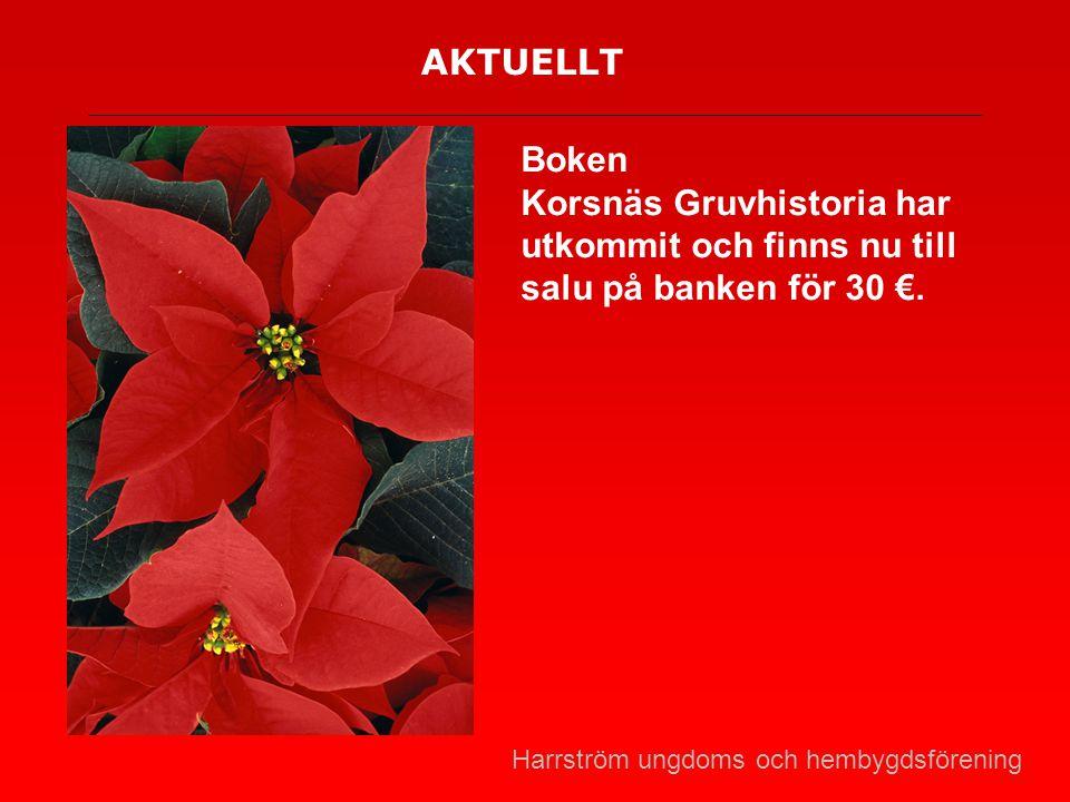 AKTUELLT Boken. Korsnäs Gruvhistoria har utkommit och finns nu till salu på banken för 30 €.