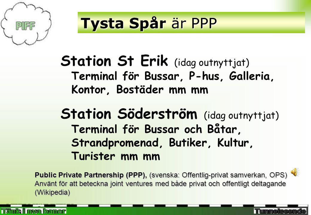 Tysta Spår är PPP Station St Erik (idag outnyttjat) Terminal för Bussar, P-hus, Galleria, Kontor, Bostäder mm mm.