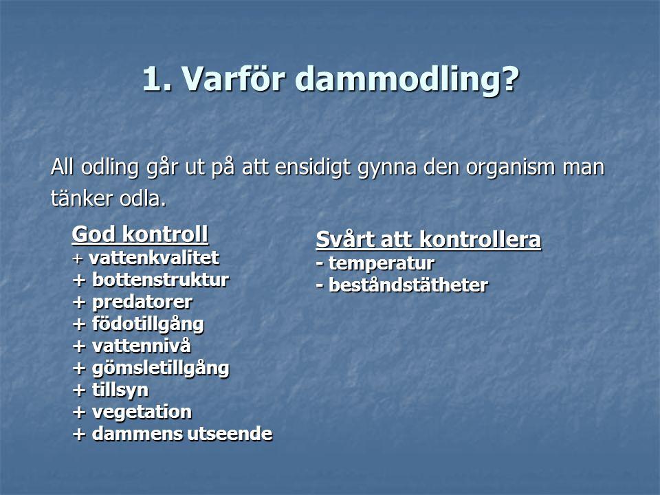1. Varför dammodling All odling går ut på att ensidigt gynna den organism man. tänker odla. God kontroll.