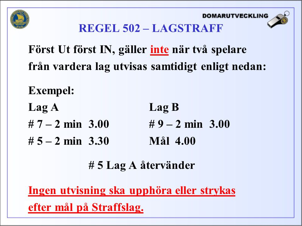REGEL 502 – LAGSTRAFF Först Ut först IN, gäller inte när två spelare. från vardera lag utvisas samtidigt enligt nedan: