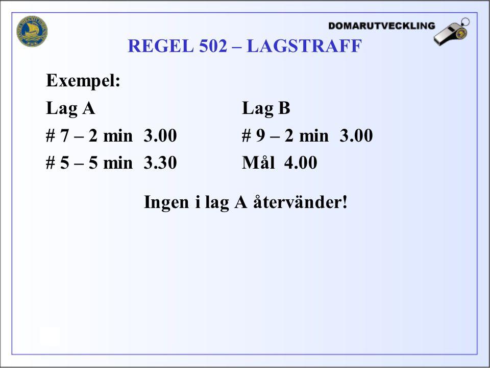 REGEL 502 – LAGSTRAFF Exempel: Lag A Lag B. # 7 – 2 min 3.00 # 9 – 2 min 3.00. # 5 – 5 min 3.30 Mål 4.00.