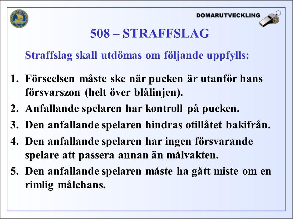 508 – STRAFFSLAG Straffslag skall utdömas om följande uppfylls: