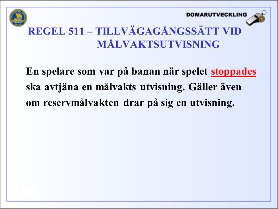 REGEL 511 – TILLVÄGAGÅNGSSÄTT VID MÅLVAKTSUTVISNING