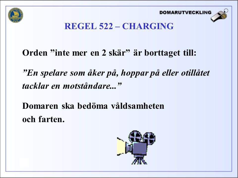REGEL 522 – CHARGING Orden inte mer en 2 skär är borttaget till: En spelare som åker på, hoppar på eller otillåtet.