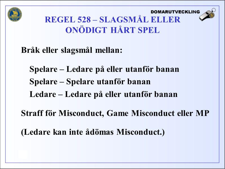 REGEL 528 – SLAGSMÅL ELLER ONÖDIGT HÅRT SPEL