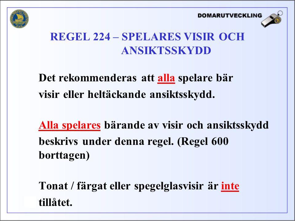 REGEL 224 – SPELARES VISIR OCH ANSIKTSSKYDD