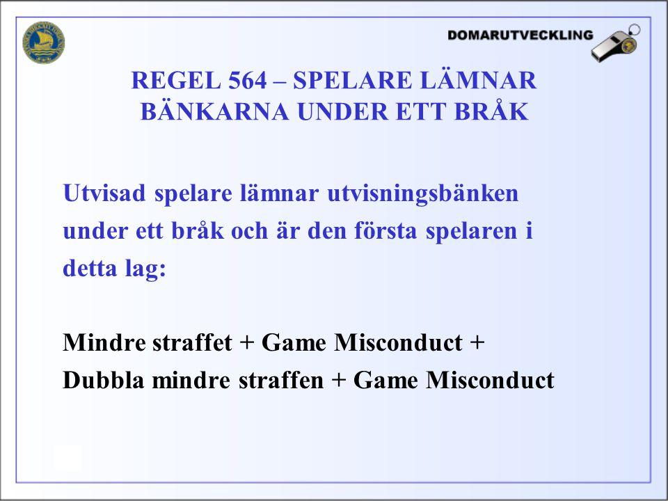 REGEL 564 – SPELARE LÄMNAR BÄNKARNA UNDER ETT BRÅK